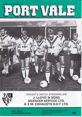Port Vale v Manchester United Milk Cup 1983-1984