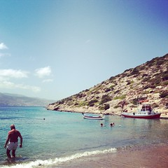 Today we've taken this little ferry to a beach you can only reach by boat. #amonthingreece