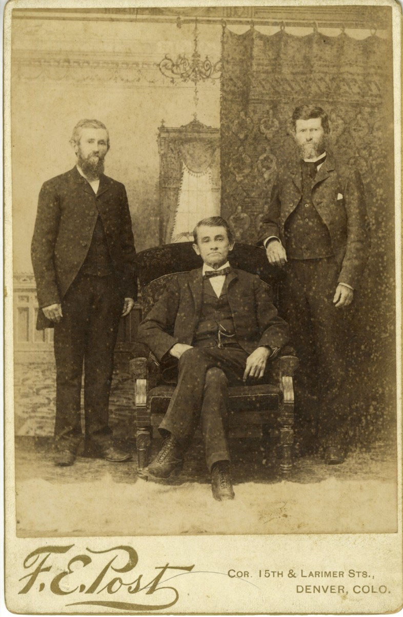 Cabinet card photo of the Thompson brothers