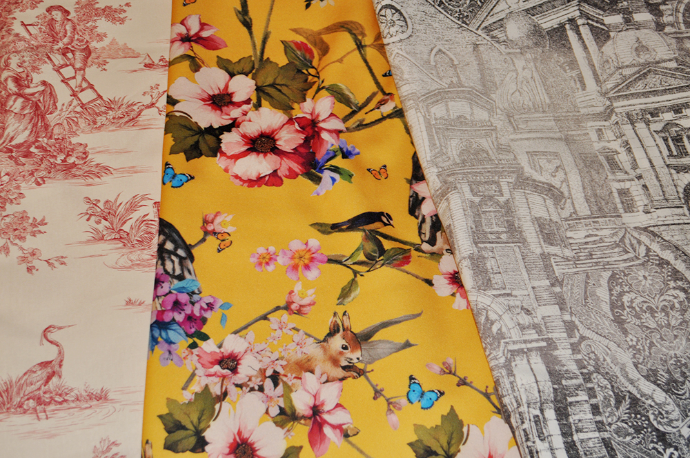fabric haul pattern toile de jouy dolce & gabanna, D&G floral pattern yellow DIY how to sewing clothing fblogger neoprene, something fashion