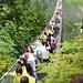 Crowded is no problem on suspension bridge