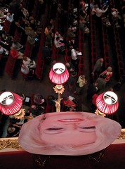 Anna Nicole masks decorating the Royal Opera House auditorium