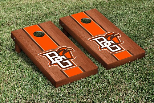 Bowling Green Falcons Cornhole Game Set Rosewood Stained Stripe Version