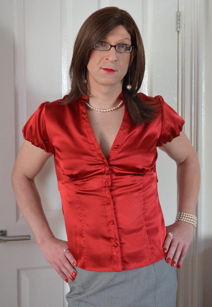 Transgender Satin Blouse Blouse No Bra