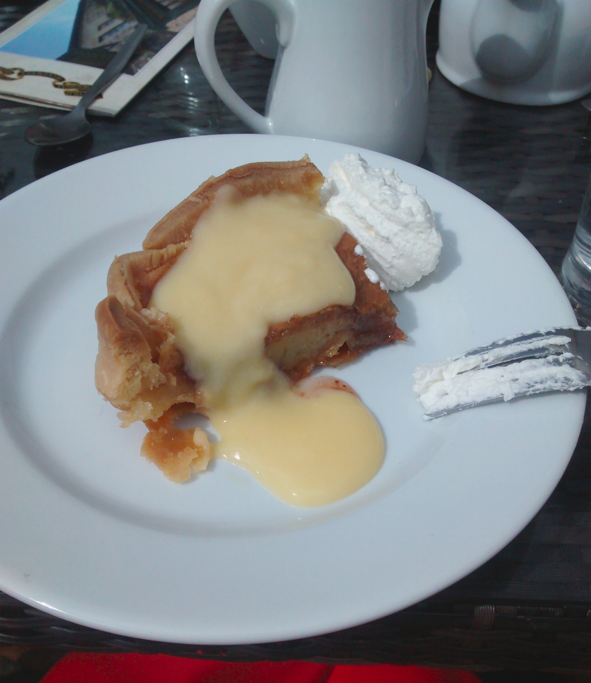 Bakewell pudding with custard