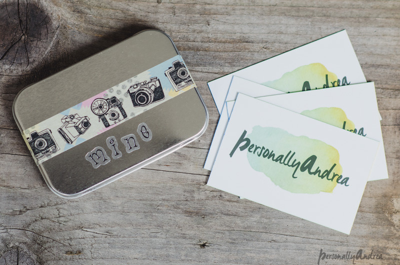Business Cards with a decorated carrying tin | personallyandrea.com