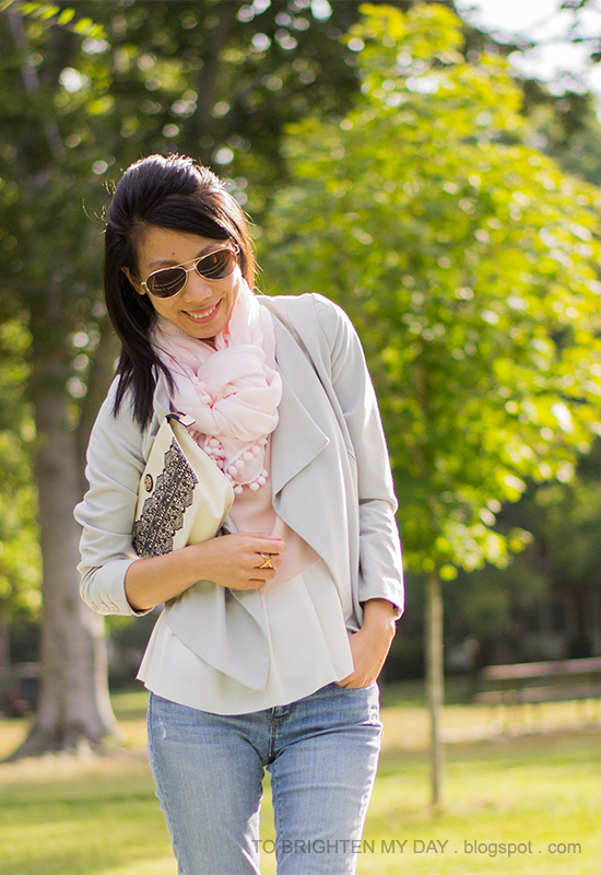 pink scarf, gray draped blazer, colorblocked peplum top, lace printed clutch