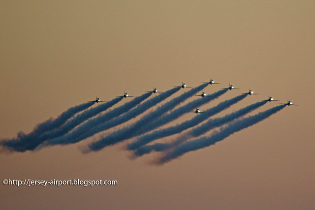 Red Arrows arrival just after sunset