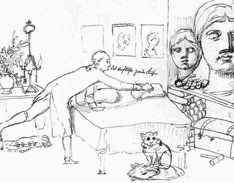 Johann Heinrich Wilhelm Tischbein: Goethe in seiner römischen Wohnung, Federzeichnung 1787, rechts außen die Juno Ludovisi
