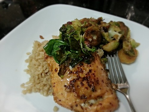miso dijon salmon, Brussels sprouts, and brown rice