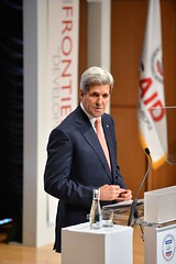 U.S. Secretary of State John Kerry delivers remarks at the 2014 Frontiers in Development Forum at the Ronald Reagan Building in Washington, D.C., on September 19, 2014. [State Department photo/ Public Domain]