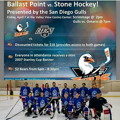 Watch me and my boys play Stone brewery then stay for the Gulls game. April 7th!  $18 gets you in both games!!!