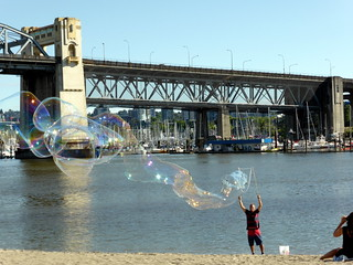 Image of Sunset Beach near West End. summer vancouver bubbles falsecreek sunsetbeach englishbay vancouverbc soapbubbles burrardbridge