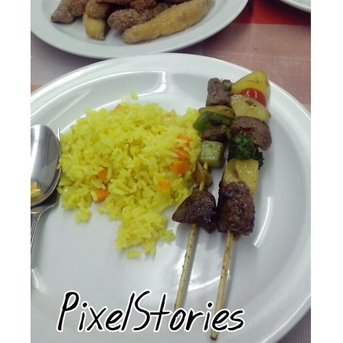 Buttered Yellow Rice and Beef and Vegetable kebabs
