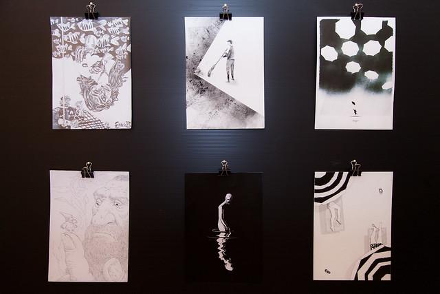 Alcune opere selezionate per il concorso giovani, in alto a sinistra il vincitore.