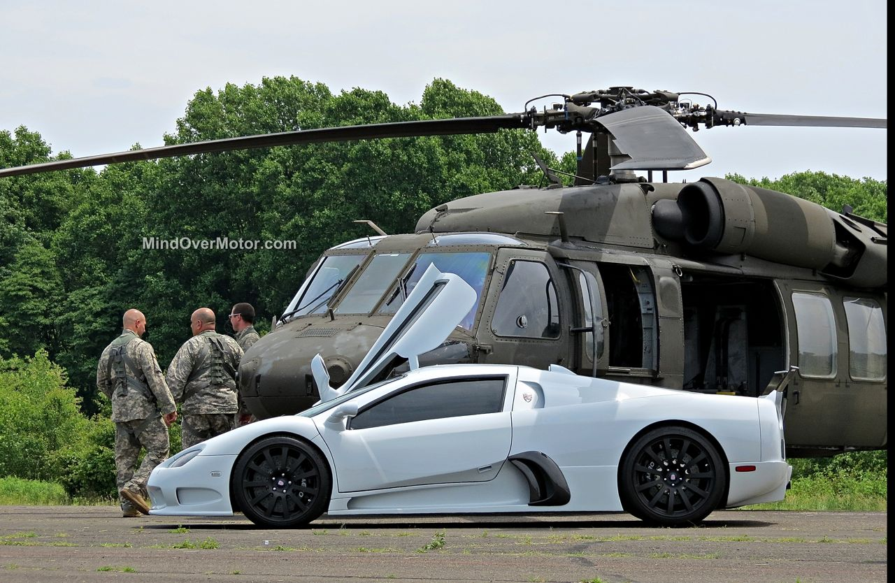 SSC UltimateAero with Black Hawk Chopper at CF Charities