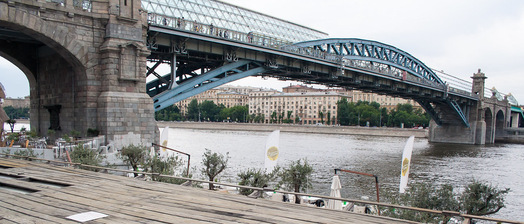 Москва. Парк Культуры. Олифковые деревья под Пушскинским мостом