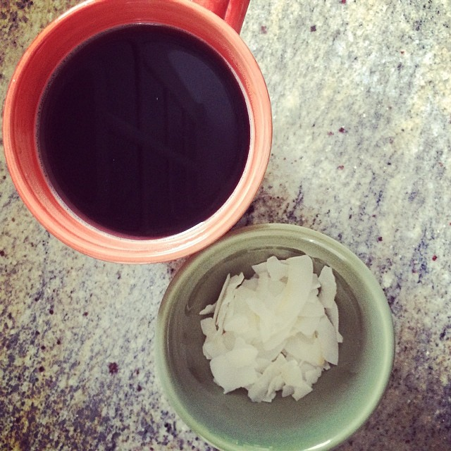 Day 5, #Whole30 - breakfast (coconut flakes and black coffee)