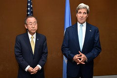 U.S. Secretary of State John Kerry stands with United Nations Secretary-General Ban Ki-moon in Cairo, Egypt, on July 24, 2014, as he addresses reporters before the two sat down to discussion regional and international efforts to create a cease-fire between Israeli and Hamas forces in the Gaza Strip. [State Department photo/ Public Domain]