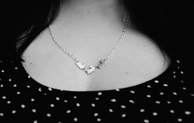 bunny necklace and dotty dress
