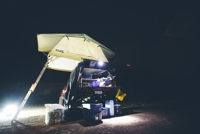 Desk To Glory Out camp setup in the Mexico night