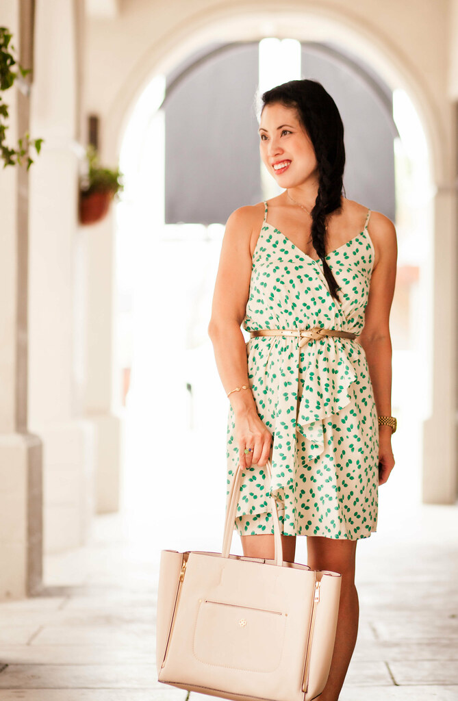 cute & little | petite fashion | east & lo spaghetti strap mint print dress, nude bow sandals, elephant necklace, dutch side braid