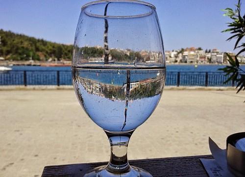sky urban water glass landscape view chalkis