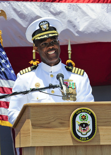 SAN DIEGO – The amphibious assault ship USS Boxer (LHD 4) held a change of command ceremony on the flight deck where Capt. Wayne R. Brown relieved Capt. John E. Gumbleton as commanding officer.