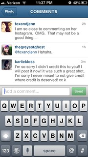 Karlie apology on Rachels instagram