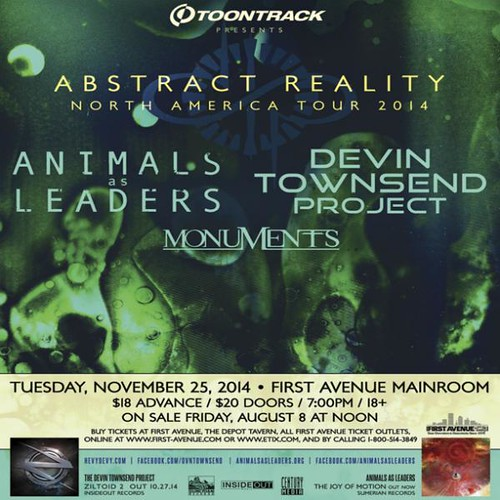 11/25/14 Animals as Leaders/ Devin Townsend Project/ Monuments @ First Avenue, Minneapolis, MN