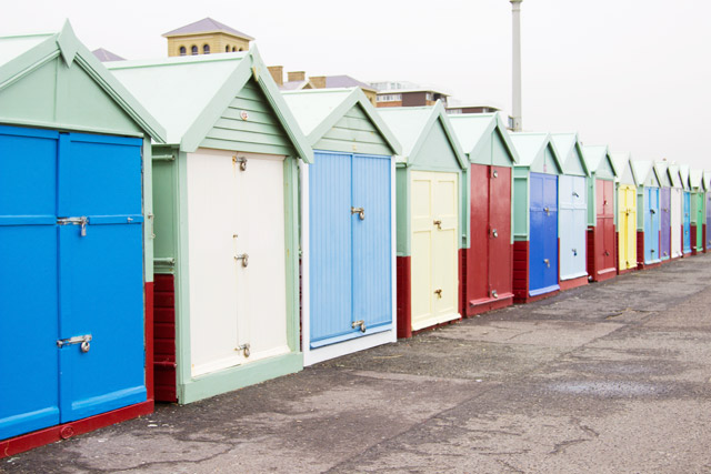 colourful beach huts in Brighton