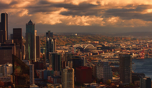seattle spaceneedle washington unitedstates usa downtown pentaxk5 elliotbay safecofield centurylinkfield storm sunrise 200favs