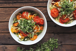 Zucchini Noodles with Roasted Heirloom Tomatoes