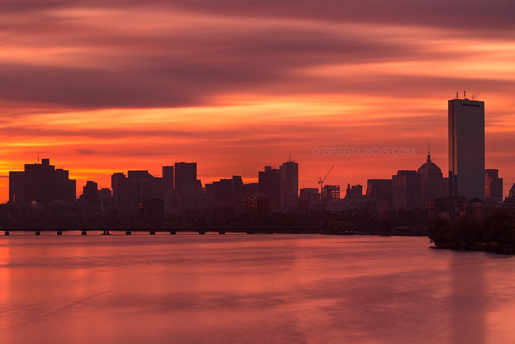Sunrise over Charles River, Boston Skyline, and Harvard Bridge, Extreme LE from BU Bridge
