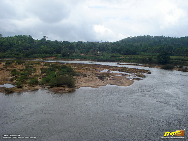 A view of River Tunga from above the Vidyatheertha Bridge, in Sringeri, Chikkamagalur district, Karnataka, India