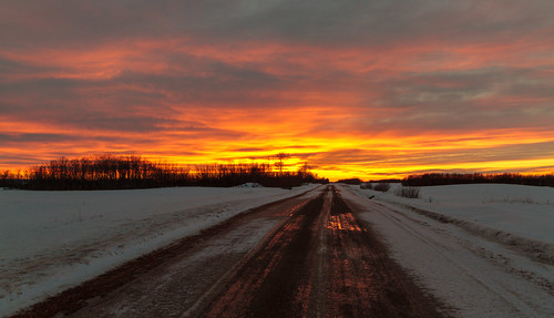 road winter sunset sky cloud snow canada west rural fire farm country north dirt alberta fairview peaceriver dunvegan