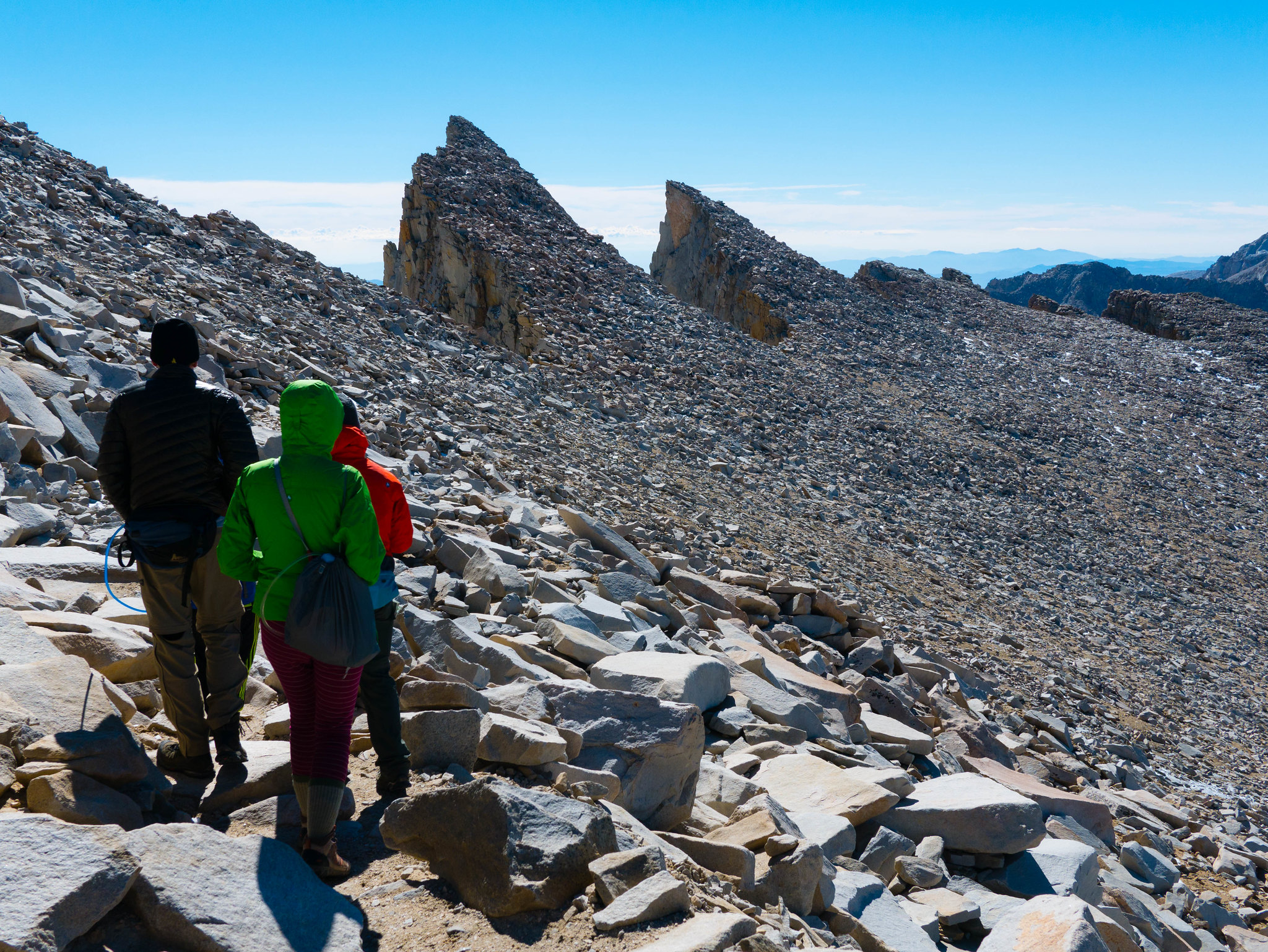 Heading down from the summit of Mount Whitney