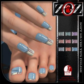 -{ZOZ}- Soft Silver Tips Polish pix