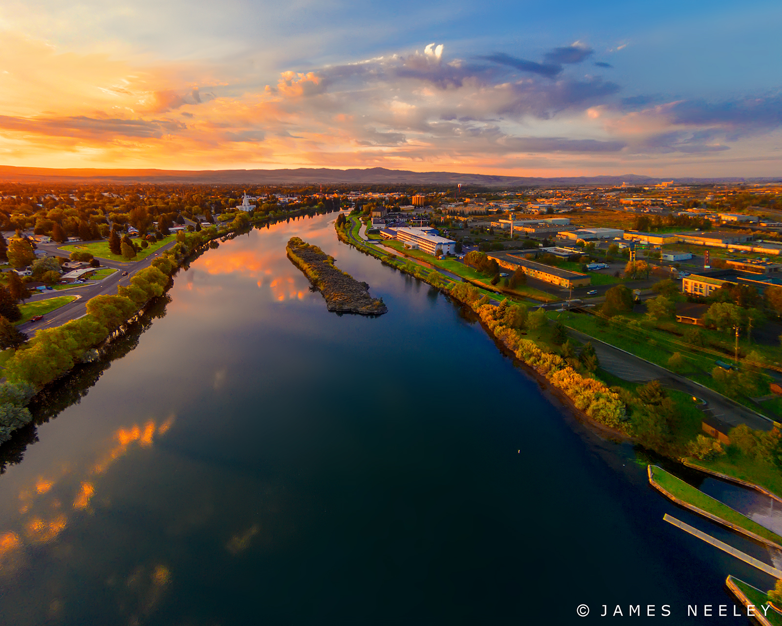 sunrise snakeriver aerialphotography idahofalls jamesneeley quadcopter djiphantom2vision