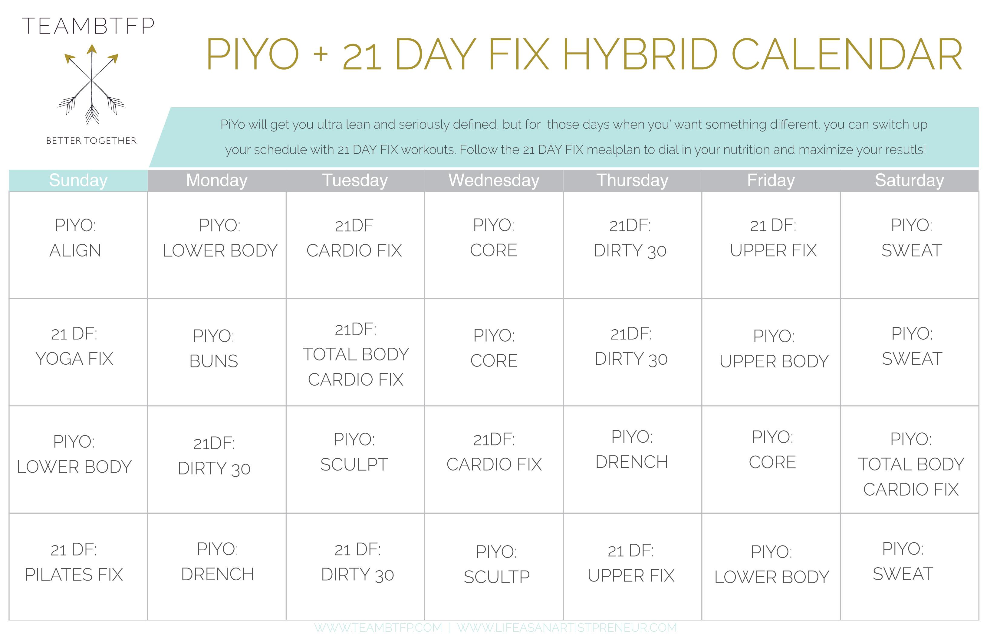 PIYO21dayfixhybridcalendar