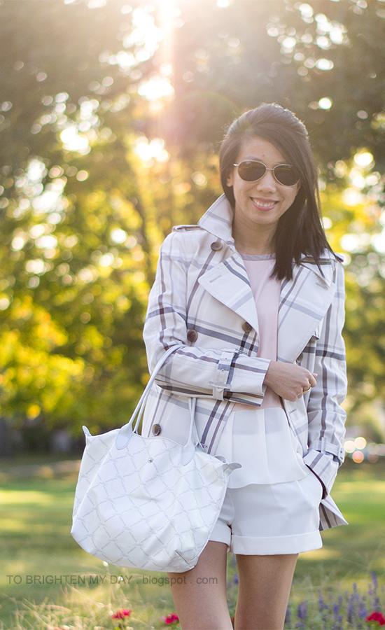plaid patterned short trench jacket, colorblock peplum tee, white shorts