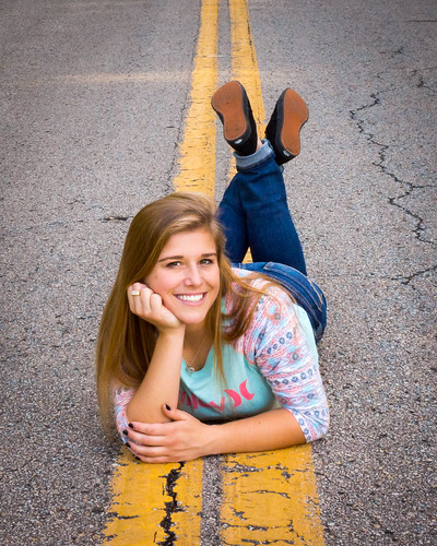Girl, Pretty, Portrait, Road, Reclining, Senior Portrait
