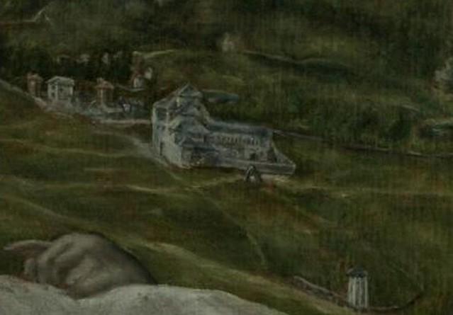 Convento de San Bartolomé de la Vega por  el Greco en su Vista y Plano de Toledo. Museo del Greco