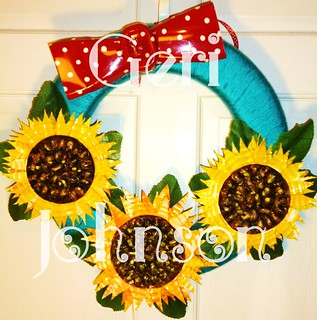 Recycled Sunflower Wreath