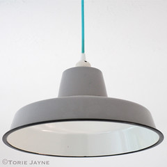 Enamel pendant light & turquoise cable