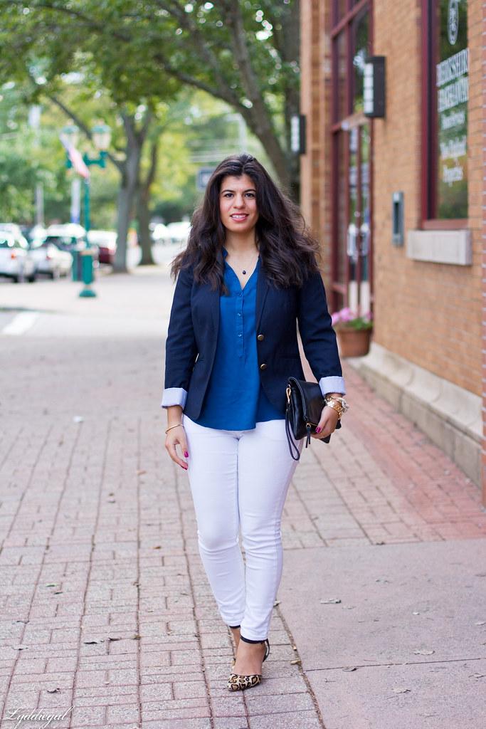 white jeans, navy blazer, leopard pumps.jpg