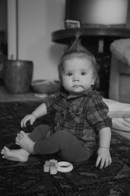 Shiloh plaid shirt black adn white 8 months old sept 2014-5