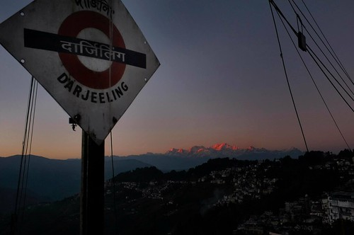 pink sunset india mountain station sign train toy town twilight fuji valley darjeeling westbengal kangchenjunga x100 bagdogra rangeet