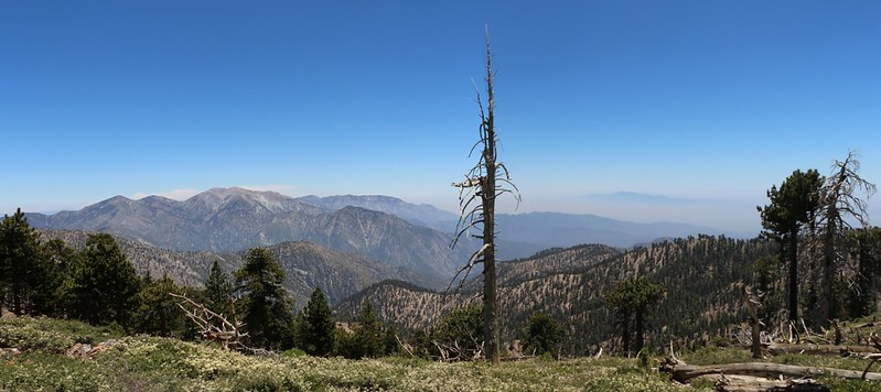 Panorama from the PCT near Mount Throop looking south to Mount Baldy and other peaks.