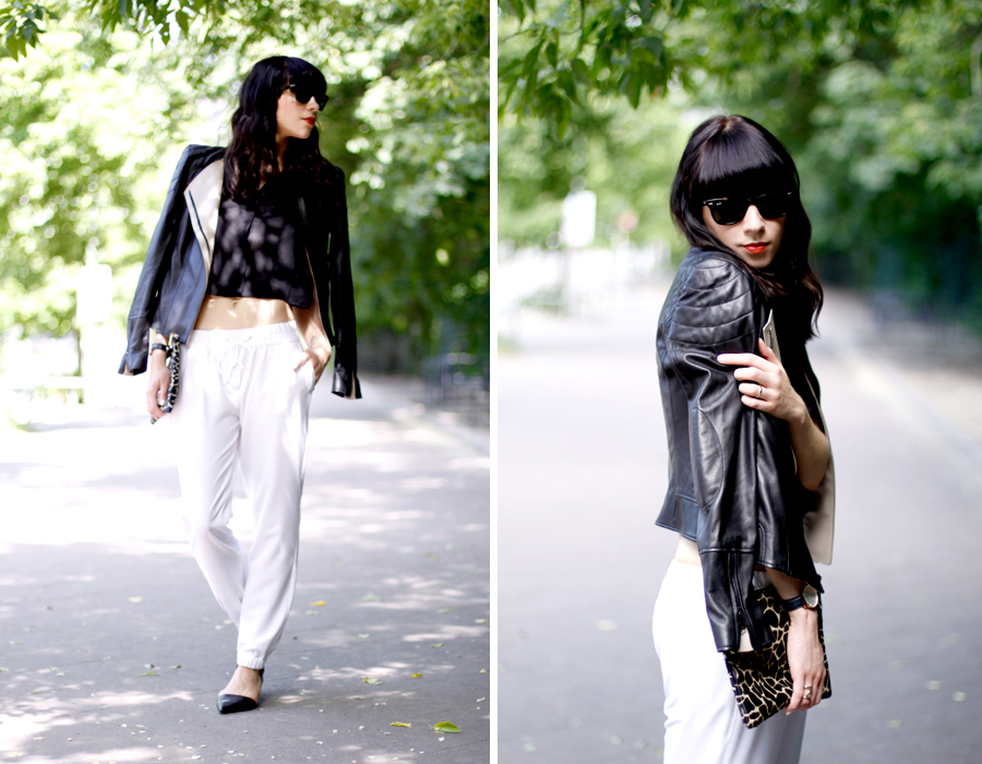 JOOP! look outfit sporty white jogging pants leather jacket soft summer spring outfit ootd CATS & DOGS fashion blog berlin 6